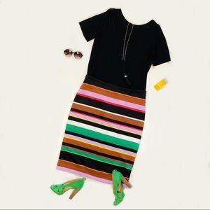 NWT Worthington Multicolor Striped Scuba Skirt 18W